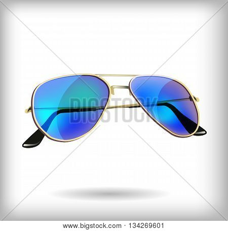 Sun protection mirrored sunglasses on white background, illustration for summer