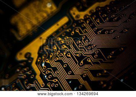 Blur electronic circuit close up computer. dark electronic circuit close up computer.