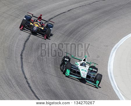 Ft Worth, TX - Jun 10, 2016:  Simon Pagenaud (22) brings his car through the turns during a practice session for the Firestone 600 at Texas Motor Speedway in Ft Worth, TX.
