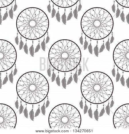 Seamless pattern with dreamcatchers.Vector illustration on white background. Dreamcatchers with feathers