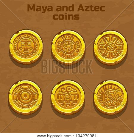 old gold aztec and Maya coins, resource gaming element