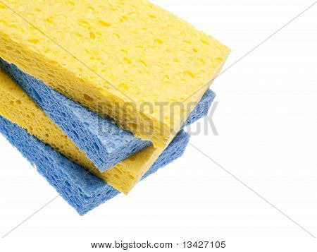 Pila de frontera de esponjas azul y amarillo