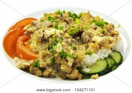 eating meat and potatoes beef with rice on a white background