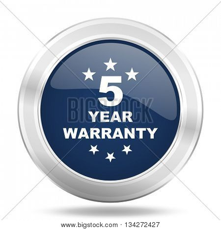 warranty guarantee 5 year icon, dark blue round metallic internet button, web and mobile app illustration