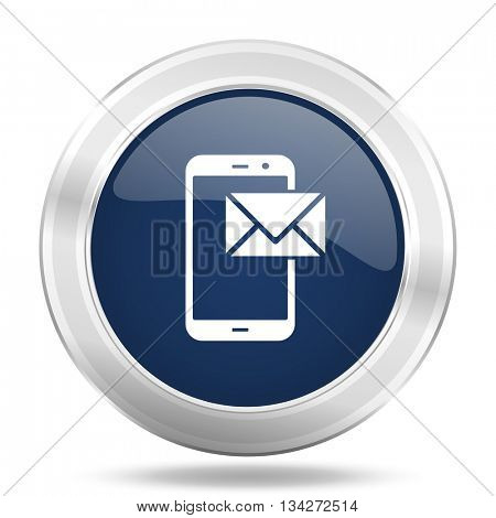 mail icon, dark blue round metallic internet button, web and mobile app illustration