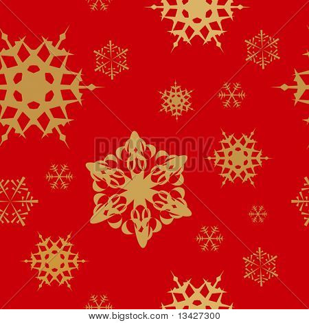 Winter - red christmas seamless pattern / texture with golden snowflakes