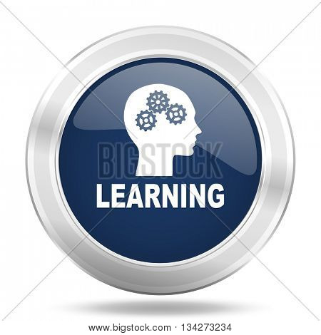 learning icon, dark blue round metallic internet button, web and mobile app illustration