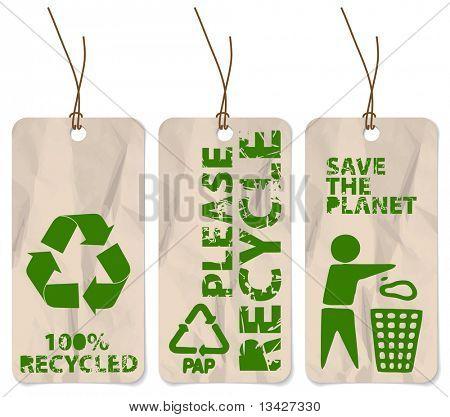 Festlegen von drei Grunge-Tags für das recycling