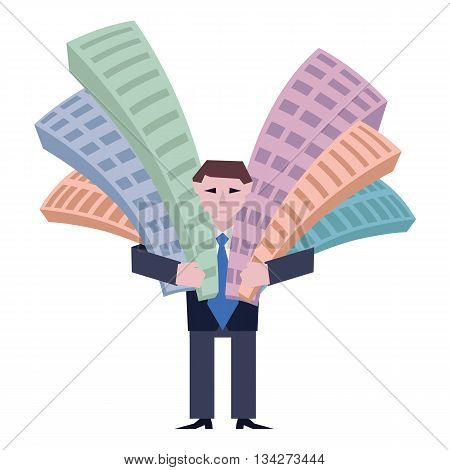 Businessman holds houses. Business concept the real estate market. Vector illustration of businessman with houses isolated on white background.