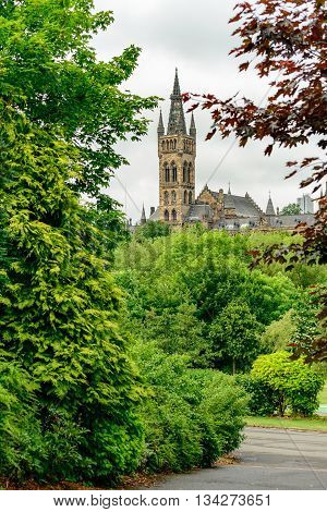 The spire of Glasgow University from Kelvingrove Park.