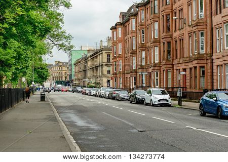 GLASGOW SCOTLAND - JUNE 13 2016: Western end of Sauchiehall Street in Glasgow Scotland.