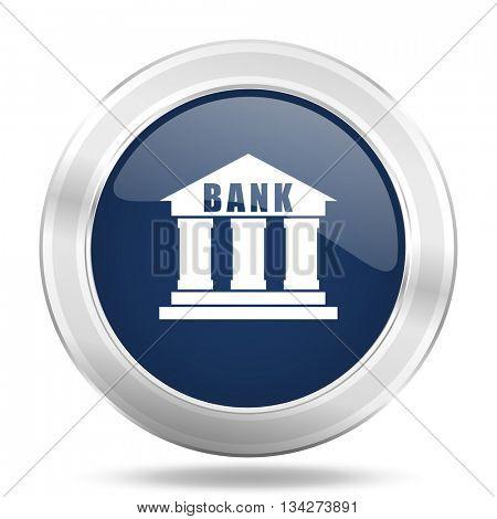 bank icon, dark blue round metallic internet button, web and mobile app illustration