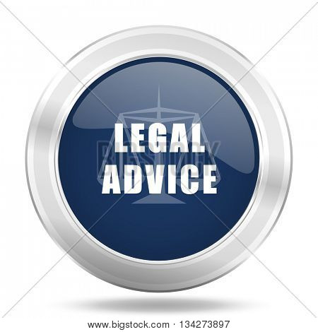 legal advice icon, dark blue round metallic internet button, web and mobile app illustration