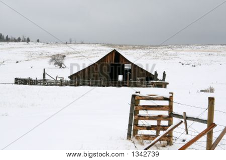 Old Snowy Barn