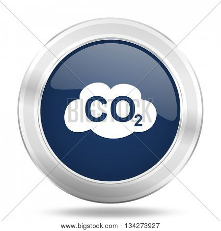 carbon dioxide icon, dark blue round metallic internet button, web and mobile app illustration