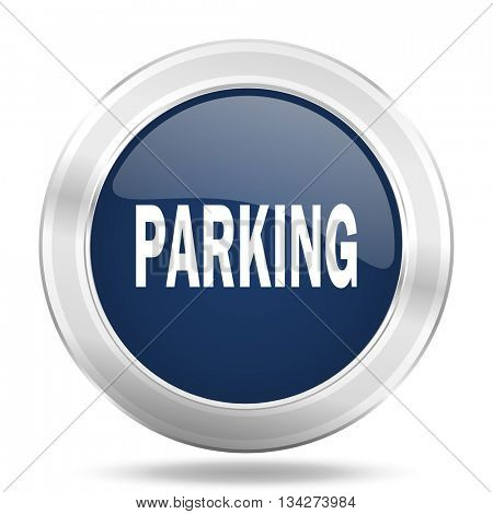 parking icon, dark blue round metallic internet button, web and mobile app illustration