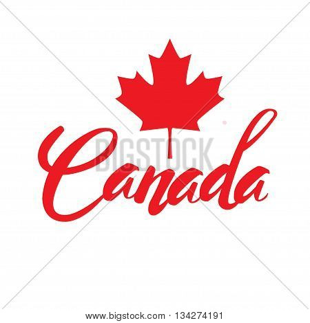 Canada lettering logo with watercolor element isolated. stamp with name of Canada hand drawn in vector.
