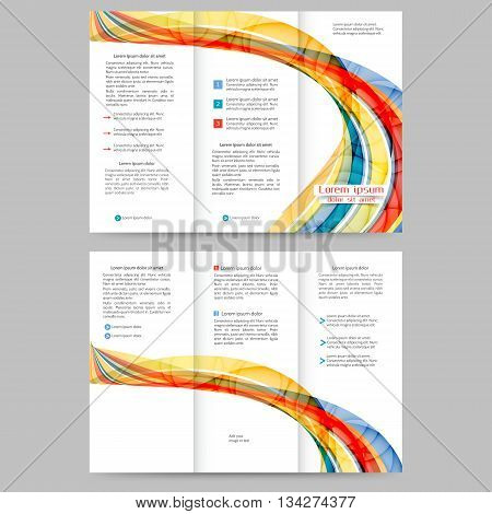 Colored tri fold business brochure design template with abstract lines and waves for your business