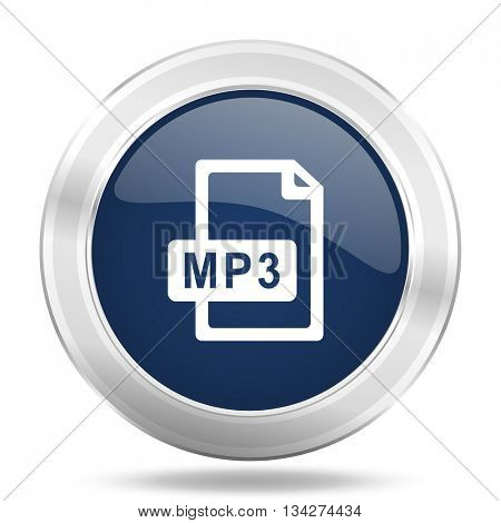 mp3 file icon, dark blue round metallic internet button, web and mobile app illustration