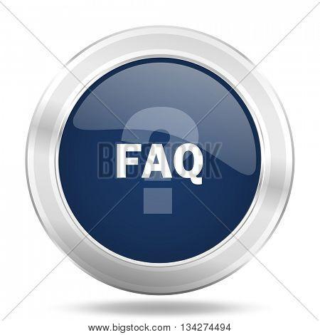 faq icon, dark blue round metallic internet button, web and mobile app illustration
