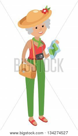 Illustration of elderly woman traveling isolated on white background. Senior woman holding bag and map in her hands. Senior woman illustration on flat style.