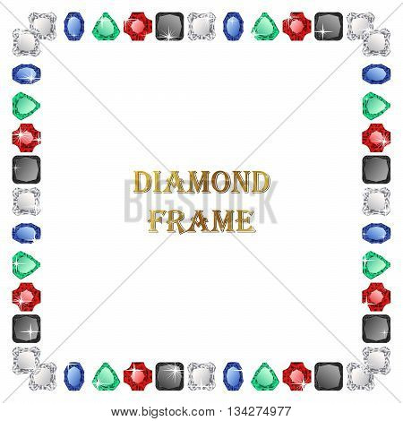 Diamond square frame. Vector jewerly background and place for your text. Abstract diamond border