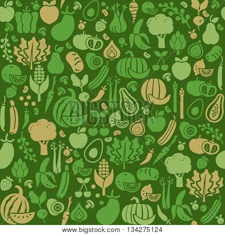 Fresh vegetables and fruits seamless texture nutrition organic food and agriculture concept