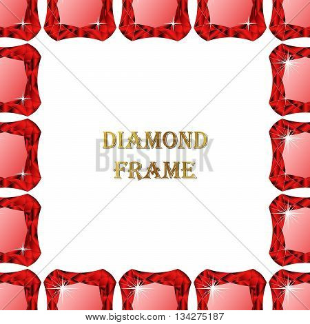 Ruby square frame. Vector illustration jewerly. Abstract diamond vector. Diamond border