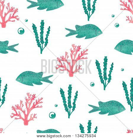 Watercolor seamless pattern with sea fish and seaweed isolated on white. Underwater world, vector background.
