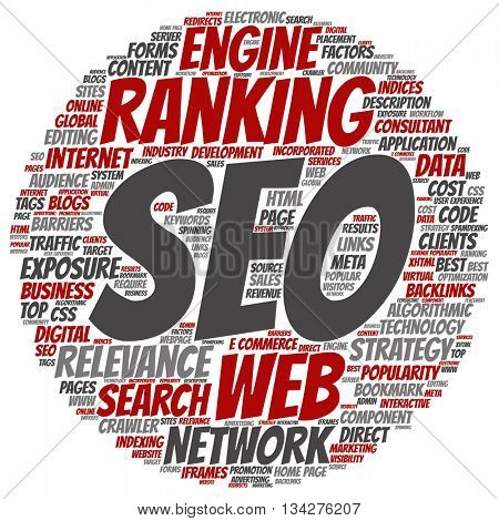 Concept or conceptual search engine optimization, seo abstract round cloud isolated on background, metaphor to marketing, web, internet, strategy, online, rank, result,  network, top, relevance