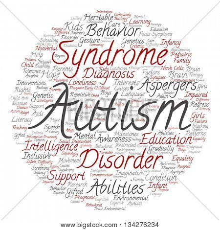 Concept conceptual childhood autism syndrome symtoms or disorder abstract round word cloud isolated on background
