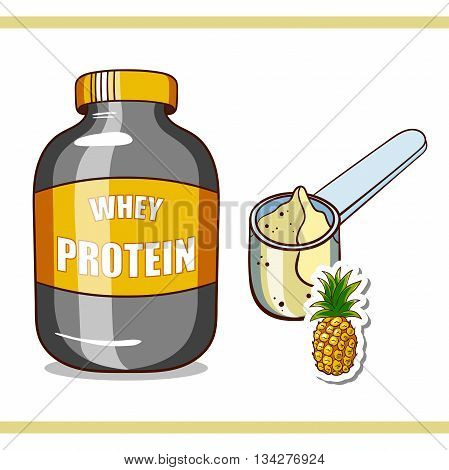 Plastic jar and scoop with pineapple whey protein on white background. Sport nutrition. Vector illustration.