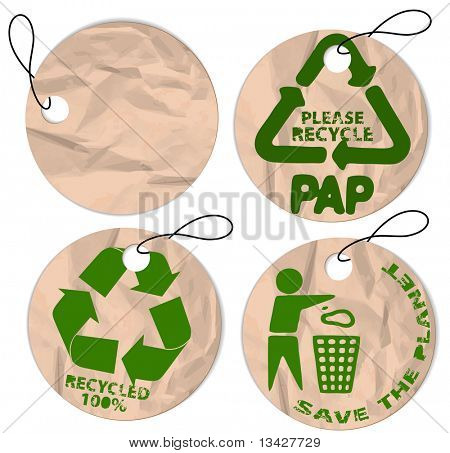 Set of round grunge paper tags for recycling