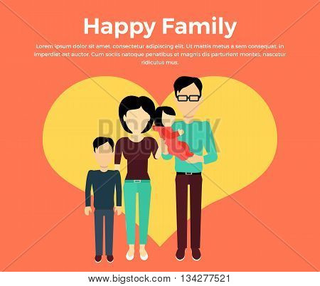 Happy family concept banner design flat style. Young family man and a woman with a son and baby daughter. Mother and father with child happiness lifestyle, vector illustration