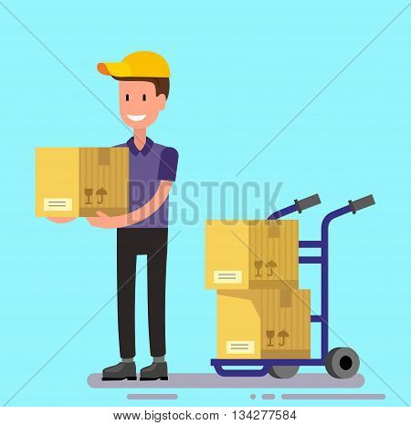vector delivery man unload delivery car boxes