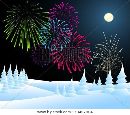 Winter christmas landscape in night with fireworks