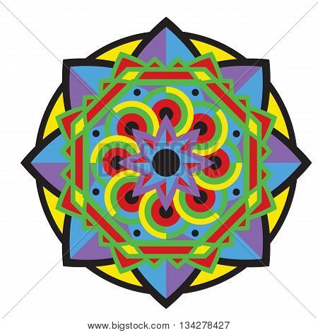 Mandala or circular bright pattern. Vintage decorative element in african, mexican, indian style. Isolated background and pop art colors.