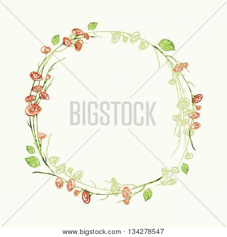 Vector watercolor round floral frame. Hand draw romantic herbal border