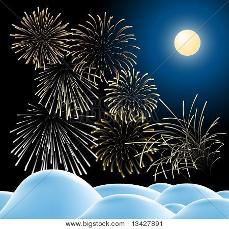Winter christmas landscape in night with fireworks (vector)