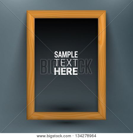 Realistic wooden picture frame isolated with sample text. Dark version. Vector illustration