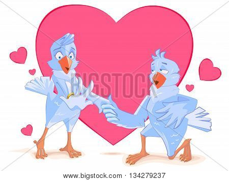 Wedding doves bird engagement. Dove offers his heart. Template for wedding invitation. Vector cartoon illustration