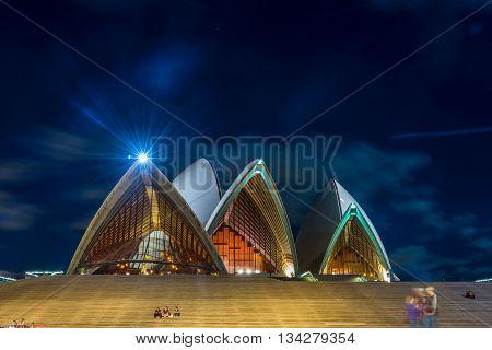 Sydney Opera Detail At Night
