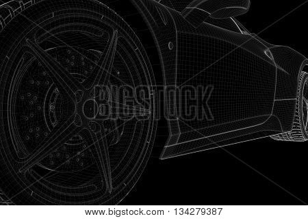 Racing Car Wireframe Hologram. Nice 3D Rendering