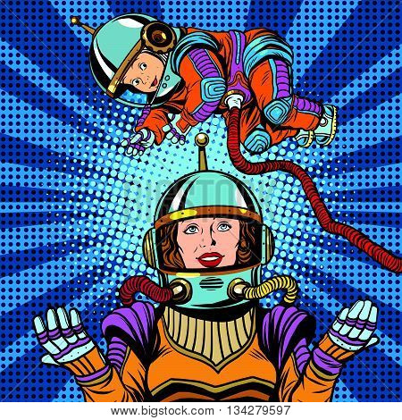 Space astronaut mother and newborn baby pop art retro vector. Mother day and international womens day. Childhood and motherhood