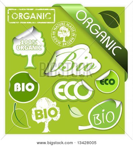 Set of bio, eco, organic elements - labels, stickers, stamps, ribbons