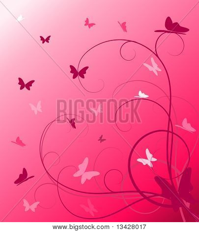 Abstract spring floral background with butterflies (vector)