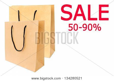 Paper shopping bags isolated on white background.