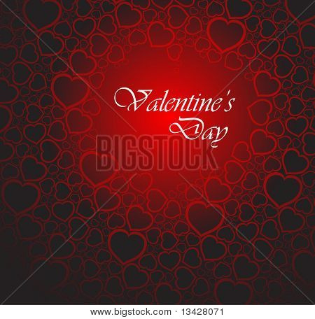 Love vector background made from red hearts (valentine's day card)
