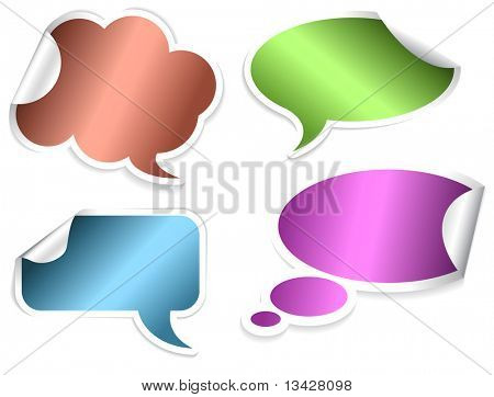 Set of Comic Clouds and bubbles as stickers and labels (vector)