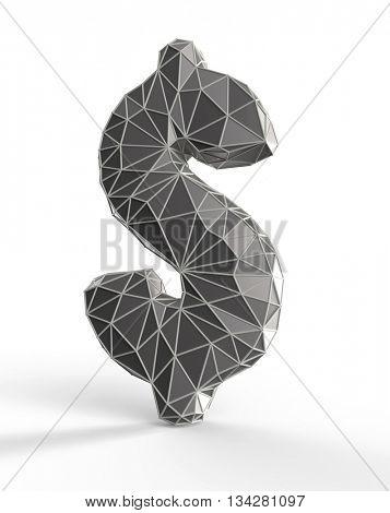 faceted dollar sign, 3d illustration
